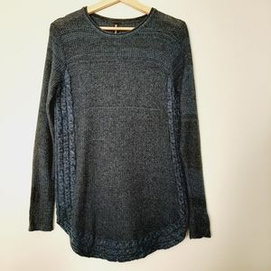 ONYX Marled Blue Sweater Angora blend Top Soft Cable Knit Sz. M